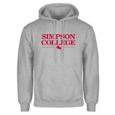 Grey Fleece Hoodie-Simpson College Flat Word Mark