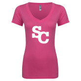 Next Level Ladies Junior Fit Ideal V Pink Tee-SC Interlocking