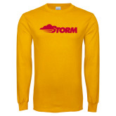 Gold Long Sleeve T Shirt-Storm Secondary Logo