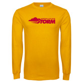Gold Long Sleeve T Shirt-Simpson College Storm Logo
