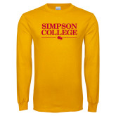 Gold Long Sleeve T Shirt-Simpson College Flat Word Mark