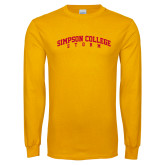 Gold Long Sleeve T Shirt-Simpson College Storm Collegiate