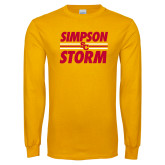 Gold Long Sleeve T Shirt-Simpson Storm Lines Graphic