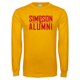 Gold Long Sleeve T Shirt-Simposon Alumni Stacked