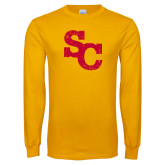 Gold Long Sleeve T Shirt-SC Distressed Logo