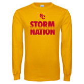 Gold Long Sleeve T Shirt-SC Storm Nation