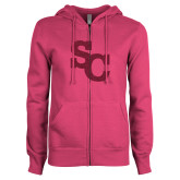 ENZA Ladies Fuchsia Fleece Full Zip Hoodie-SC Hot Pink Glitter
