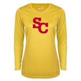 Ladies Syntrel Performance Gold Longsleeve Shirt-SC Interlocking