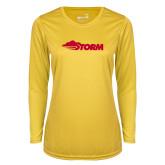 Ladies Syntrel Performance Gold Longsleeve Shirt-Storm Secondary Logo