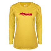 Ladies Syntrel Performance Gold Longsleeve Shirt-Simpson College Storm Logo