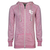 ENZA Ladies Hot Pink Marled Full Zip Hoodie-SC Interlocking