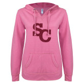 ENZA Ladies Hot Pink V Notch Raw Edge Fleece Hoodie-SC Hot Pink Glitter