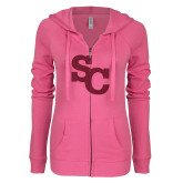 ENZA Ladies Hot Pink Light Weight Fleece Full Zip Hoodie-SC Hot Pink Glitter