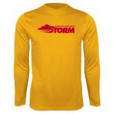 Performance Gold Longsleeve Shirt-Simpson College Storm Logo