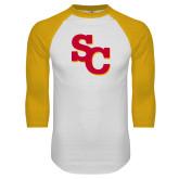 White/Gold Raglan Baseball T Shirt-SC Interlocking