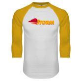 White/Gold Raglan Baseball T Shirt-Storm Secondary Logo