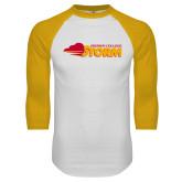 White/Gold Raglan Baseball T Shirt-Simpson College Storm Logo