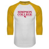 White/Gold Raglan Baseball T Shirt-Simpson College Flat Word Mark