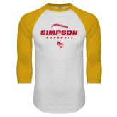 White/Gold Raglan Baseball T Shirt-Simpson Baseball Graphic