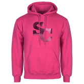 Fuchsia Fleece Hoodie-SC Interlocking Foil