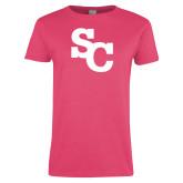 Ladies Fuchsia T Shirt-SC Interlocking