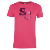 Ladies Fuchsia T Shirt-SC Interlocking Foil
