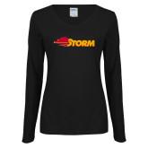 Ladies Black Long Sleeve V Neck Tee-Storm Secondary Logo
