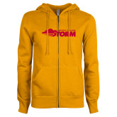 ENZA Ladies Gold Fleece Full Zip Hoodie-Simpson College Storm Logo