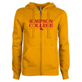 ENZA Ladies Gold Fleece Full Zip Hoodie-Simpson College Flat Word Mark