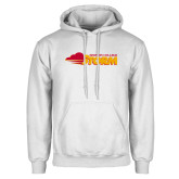 White Fleece Hoodie-Simpson College Storm Logo