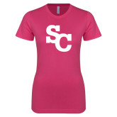 Ladies SoftStyle Junior Fitted Fuchsia Tee-SC Interlocking
