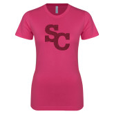 Ladies SoftStyle Junior Fitted Fuchsia Tee-SC Hot Pink Glitter