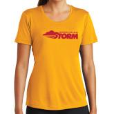 Ladies Syntrel Performance Gold Tee-Simpson College Storm Logo