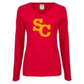 Ladies Red Long Sleeve V Neck Tee-SC Interlocking