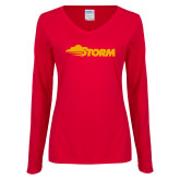 Ladies Red Long Sleeve V Neck Tee-Storm Secondary Logo