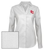 Ladies Red House Diamond Dobby White Long Sleeve Shirt-SC Interlocking