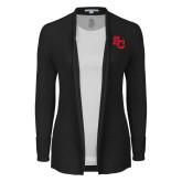 Ladies Black Open Front Cardigan-SC Interlocking