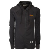 Ladies Under Armour Black Varsity Full Zip Hoodie-Storm Secondary Logo
