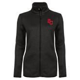 Black Heather Ladies Fleece Jacket-SC Interlocking