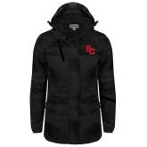 Ladies Black Brushstroke Print Insulated Jacket-SC Interlocking