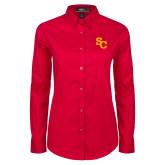 Ladies Red Twill Button Down Long Sleeve-SC Interlocking