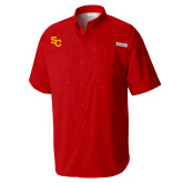 Columbia Tamiami Performance Red Short Sleeve Shirt-SC Interlocking