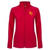 Ladies Fleece Full Zip Red Jacket-SC Interlocking