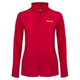 Ladies Fleece Full Zip Red Jacket-Storm Secondary Logo