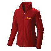 Columbia Ladies Full Zip Red Fleece Jacket-Storm Secondary Logo