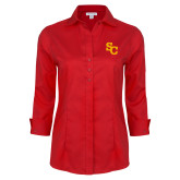 Ladies Red House Red 3/4 Sleeve Shirt-SC Interlocking
