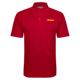Red Textured Saddle Shoulder Polo-Simpson College Storm Logo