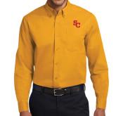 Gold Twill Button Down Long Sleeve-SC Interlocking