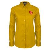 Ladies Gold Twill Button Down Long Sleeve-SC Interlocking