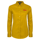 Ladies Gold Twill Button Down Long Sleeve-Storm Secondary Logo